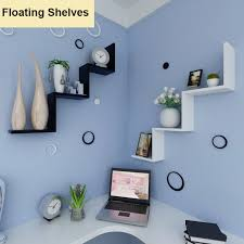 floating w shaped shelves bookshelf home decor wall shelf storage living room us