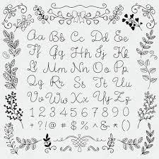 英語のアルファベット文字と数字花柄に手が描かれました ストック