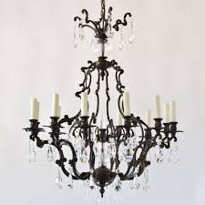 italian bronze chandelier with crystals rococo style