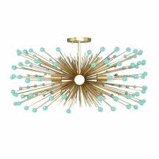 turquoise chandelier lighting. Mint Beaded Gold Urchin Flush Mount Chandelier Lighting Turquoise