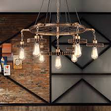 details about antique brass finish gear and wheel industrial pendant lights chandelier fitting