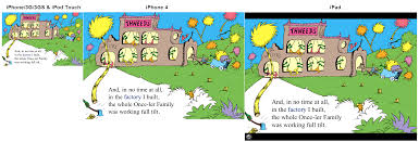 the same screen from the lorax on three diffe ios devices from left to right earlier iphones and ipod touches the iphone 4 and finally the ipad