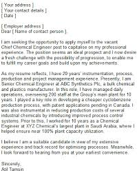 Chemical Engineering Covering Letter Sample
