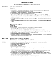 Sample Kids Resume Kids Club Attendant Resume Samples Velvet Jobs 14