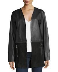 j brandemory open front zip off leather suede jacket