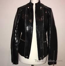 gloss black python skin fitted biker jacket