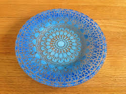 signed sydenstricker fused art glass blue bowl plate lace pattern