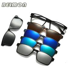 Fashion Optical <b>Spectacle Frame Men Women</b> With 5 Clip On ...