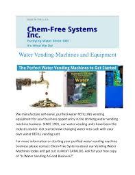 Water Vending Machines Business Mesmerizing Chemfree Water Vending Machine Systems