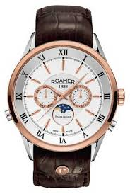 roamer watches official uk retailer first class watches roamer mens moonphase rose gold steel brown leather watch 508821491305 1 reviews