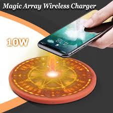 10w Magic Array Lighting Wireless Charger 10w Magic Array Qi Wireless Fast Charger Light Sound For I Phone Samsung Huawei
