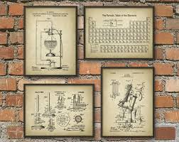 science patent prints set of 4 chemistry wall art periodic table microscope laboratory equipment on organic chemistry wall art with chemistry set etsy