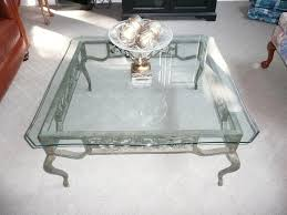 iron glass coffee table silver