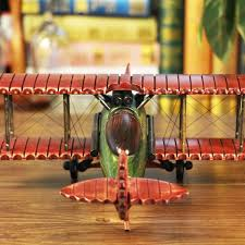 wish cosette vintage collect handmade realistic classic red helicopter wooden plane model toy