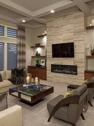 Example Of A Trendy Formal Living Room Design With Carpet A Ribbon  Fireplace A Room Design
