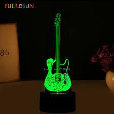 novelty gifts 3d lights guitar shape 3d led night l 7 colors usb led decorations lights