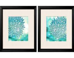 Turquoise Teal, Turquoise Wall Art, Turquoise Home Decor, Dahlia, Floral,  Abstract
