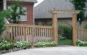 picket fence gate with arbor. 4ft Wood Spaced Picket With Cap And Trim A Decorative Arbor An Iron Gate Fence W