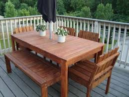 Awesome Wooden Patio Table And Benches Ana White Simple Outdoor Dining Table  Diy Projects