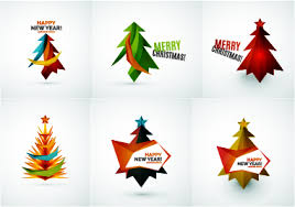 Colored Christmas Tree With Logos Vector Graphics 02 Free