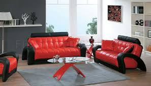 Modern Sofa For Living Room Magnificent Black And Red Leather Modern Living Room Sofa