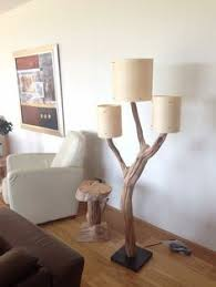 tree branch lighting. unique floor lamp weathered old wooden oak tree branch with three real wood veneer lampshade on black stone base includes cord and dimmer lighting
