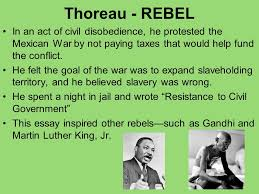 thoreau s walden ppt video online  thoreau rebel in an act of civil disobedience he protested the mexican war by