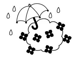 紫陽花と傘の梅雨の白黒イラスト かわいい無料の白黒イラスト モノぽっと