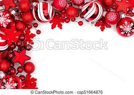 Christmas Ornaments Border Red Christmas Ornament Corner Border Isolated On White