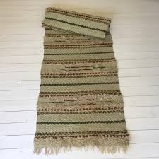 new rag rug runner vintage swedish in green yellow and brown colored stripey