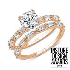 uneek round diamond bridal set with tapered baguette diamond accents in 14k rose gold
