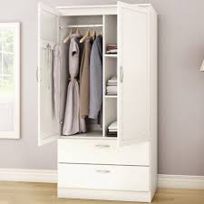 White Armoire Bedroom Clothes Storage Wardrobe Cabinet With 2 Drawers White Armoire Drawers A38
