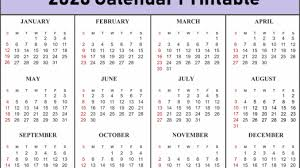 Free Calendars For 2020 2020 Printable 12 Month One Page Calendar Template Pdf Word