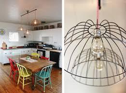 diy kitchen lighting. DIY Wire Basket Kitchen Lights - The Merrythought Diy Kitchen Lighting