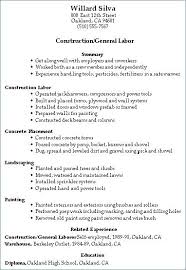 Resume For Construction Workers General Labor Resume Template