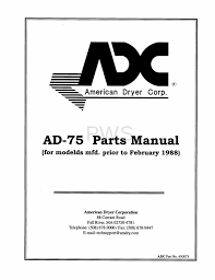 diagrams parts and manuals for american dryer ad 75 dryer
