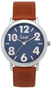 speidel bold numbers men s watch stainless steel blue face speidel bold numbers men s watch stainless steel blue face leather band brown black shopcade style scandal shopping
