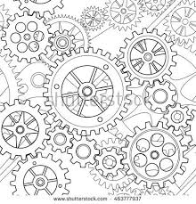 Gear Pattern Best Black White Lined Gear Wheels Pattern Stock Vector Royalty Free