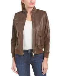 anine bing womens pilot leather jacket xs brown