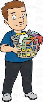 laundry basket clipart. A Smiling Man Carrying Plastic Laundry Hamper Full Of Clothes Basket Clipart B