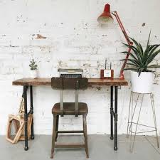 view in gallery tall writing desk with reclaimed wood on top and pipes