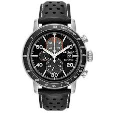 men s citizen eco drive brycen black leather strap and black dial watch ca0649 14e reeds jewelers