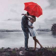 hand painted kissing in the rain under red umbrella oil painting on canvas wall art on couple with red umbrella wall art with hand painted kissing in the rain under red umbrella oil painting on
