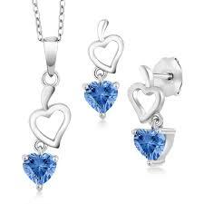 925 sterling silver pendant earrings set with fancy blue zirconia from swarovski 0