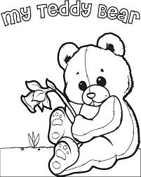 Teddy Bear Coloring Pages To Print Interior Teddy Bear With Heart