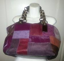 Coach Purple Holiday Multi Patchwork Gallery Tote Bag Purse Leather