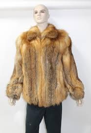 511331 new mens natural red fox fur er jacket stroller coat with zipper xl