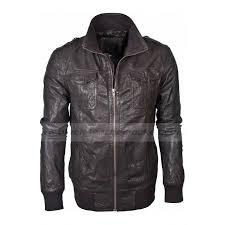 men s dark brown er military style barneys leather jacket men s dark brown er military style