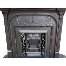cs027 original victorian fireplace cast iron surround and insert with timber mantle