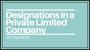 Designations In A Private Limited Company Myonlineca